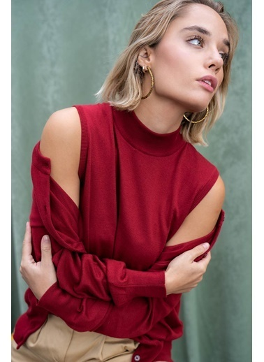 Silk and Cashmere & More Edelina Modal ve Pamuklu Yüksek Yaka Kolsuz Triko Somon